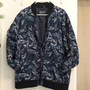 Floral print Blue Bomber Jacket